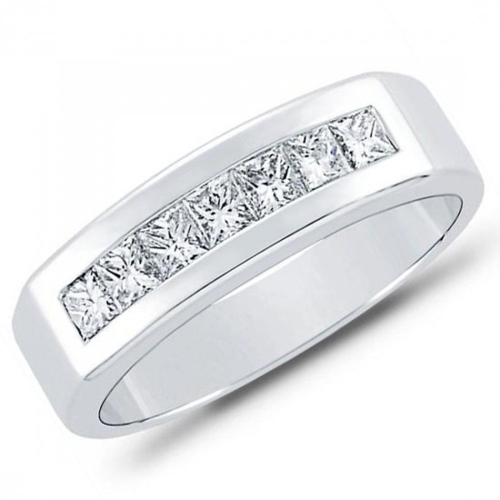 100 Ct Men's Princess Cut Diamond Wedding Band Ring