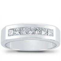 1.00 ct Men's Princess Cut Diamond Wedding Band ring