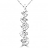 1.00 Ct Ladies Five Stone Round Cut Diamond Pendant / Necklace