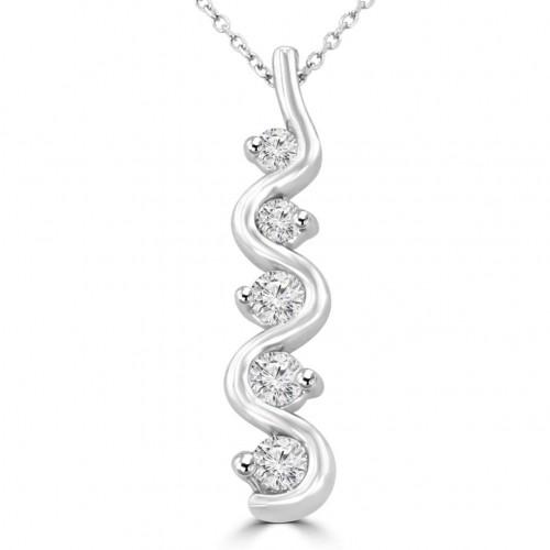 1.00 Ct Ladies Five Stone Round Cut Diamond Pendant / Necklace