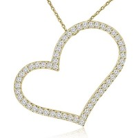 1.53 ct Round Cut Diamond Heart Shape Pendant Necklace (G Color SI-1 Clarity) in 14 kt Yellow Gold