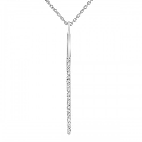0.22 ct Round Cut Diamond Stick Bar Vertical Long Pendant Necklace for Women (G Color SI-1 Clarity) in 14 kt White Gold with 16 inch Chain Included