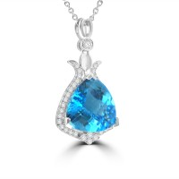 6.64 Ct Trillion Shaped Blue Topaz and Round Cut Diamond Pendent In 14 Necklace