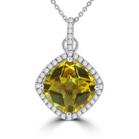 6.36 Ct Cushion cut Citrine and Round Cut Diamond Pendent In 14  kt Gold