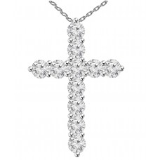 0.75 ct Ladies Round Cut Diamond Cross Pendant Necklace