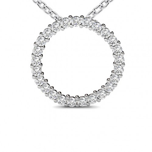 1.00 Ct Ladies Round Cut Diamond Pendant / Necklace With 16 inch chain