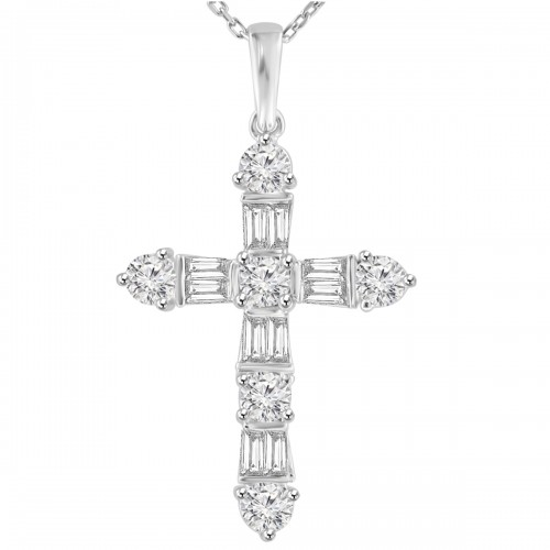 2.05 ct t.w. Ladies Round and Baguette Cut Diamond Cross Pendant Necklace