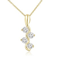 0.65 Ct Ladies Round Cut Diamond Pendant / Necklace In 14 kt Yellow Gold