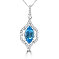 1.42 ct Marquise Shaped Blue Topaz and Round Cut Diamond Pendent In 14k Necklace