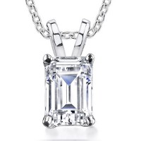 0.70 ct Emerald Cut Diamond Solitaire Pendant Necklace