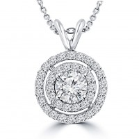 1.21 Ct Ladies Round Cut Diamond Pendant / Necklace