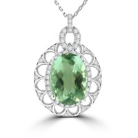 9.32 Ct Oval Cut Green Amethyst and Round Cut Diamond Pendent In 14  kt Gold