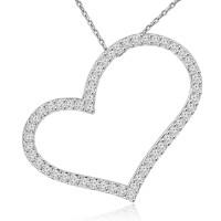 1.53 ct Round Cut Diamond Heart Shape Pendant Necklace (G Color SI-1 Clarity) in 14 kt White Gold