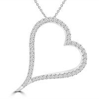 1.39 ct Round Cut Diamond Heart Shape Pendant Necklace (G Color SI-1 Clarity) in 14 kt White Gold
