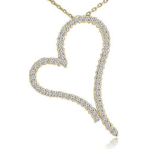 1.30 ct Round Cut Diamond Heart Shape Pendant Necklace (G Color SI-1 Clarity) in 14 kt Yellow Gold