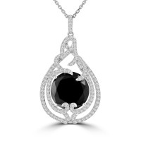 9.80 Ct Round Cut Black & White Diamond Pendant Necklace (G-H Color SI-2 I-1 Clarity) in 14 kt White Gold