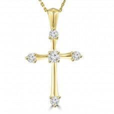 0.50 ct t.w. Ladies Round Cut Diamond Cross Pendant Necklace 14 kt Yellow Gold