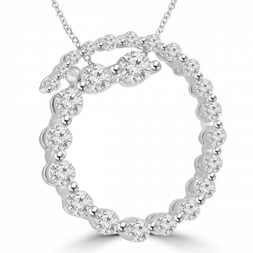 2.00 Ct tw Round Diamond Spiral Circle Pendant in 14 kt With 16 inch Chain