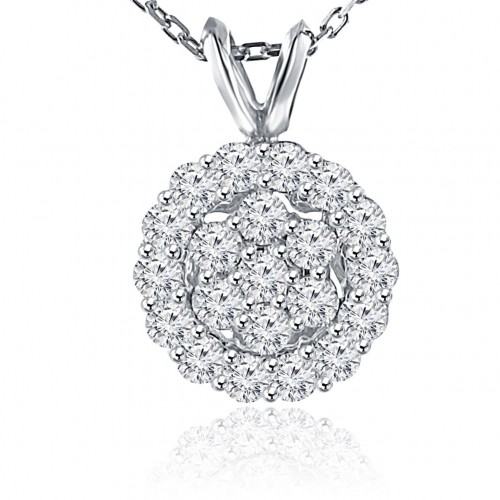 1.00 Ct Ladies Round Cut Diamond Pendant / Necklace