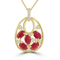 1.55 ct Round Cut Diamond & Oval Shaped Ruby Pendant Necklace in 14k White Gold