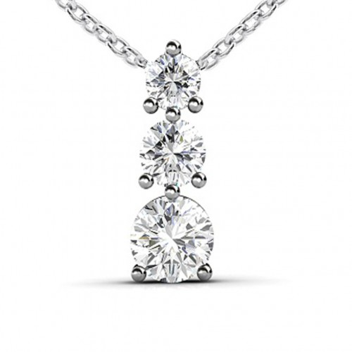 0.50 Ct Ladies Three Prong Round Cut Diamond Pendant / Necklace