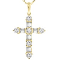 2.05 ct t.w. Ladies Round and Baguette Cut Diamond Cross Pendant Necklace in Yellow Gold