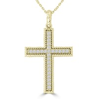 0.45 ct Ladies Round Cut Diamond Cross Pendant Necklace (G Color SI-1 Clarity) in 14 kt Yellow Gold