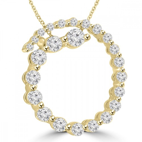 2.00 Ct tw Rond Diamond Spiral Circle Pendant in 14 kt Gold 16 inch Chain