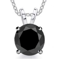 2.00 ct Ladies Black Diamond Solitaire Pendant / Necklace