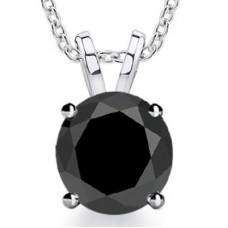 2.00 ct Ladies Black Diamond Solitaire Pendant / Necklace