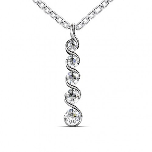 0.60 Ct Ladies Round Cut Diamond Journey Pendant / Necklace