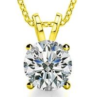 0.85 Ct Ladies Round Cut Diamond Solitaire Pendant Necklace