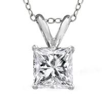 1.00 Ct Ladies Princess Cut Diamond Solitaire Pendant Necklace