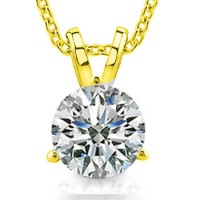 0.65 Ct Ladies Round Cut Diamond Solitaire Pendant / Necklace