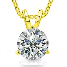 0.50 Ct Ladies Round Cut Diamond Solitaire Pendant Necklace in Yellow Gold