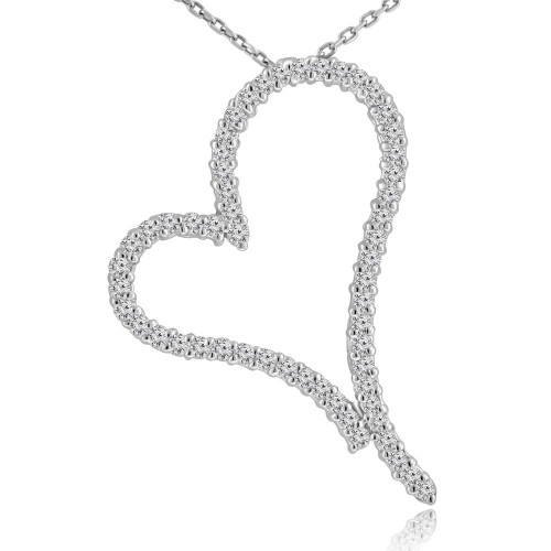 1.30 ct Round Cut Diamond Heart Shape Pendant Necklace (G Color SI-1 Clarity) in 14 kt White Gold