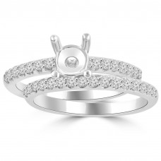 0.70 ct Ladies Round Cut Diamond Semi Mounting Engagement Ring Set in 14 kt White Gold