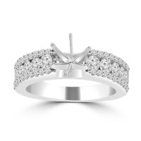 1.09 ct Ladies Three Row Round Cut Diamond Semi Mounting Ring in 14 kt White Gold