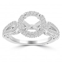 0.85 ct Ladies Round Cut Diamond Semi Mounting Engagement Ring in 14 kt White Gold