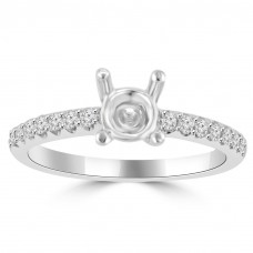 0.35 ct Ladies Round Cut Diamond Semi Mounting Engagement Ring in 14 kt White Gold