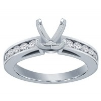 0.75 ct Channel Set Round Cut Diamond Semi Mount Engagement Ring