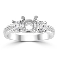1.22 ct Ladies Round Cut Diamond Semi Mounting Engagement Ring in 14 kt White Gold