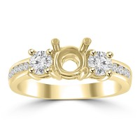 1.22 ct Ladies Round Cut Diamond Semi Mounting Engagement Ring in 14 kt Yellow Gold