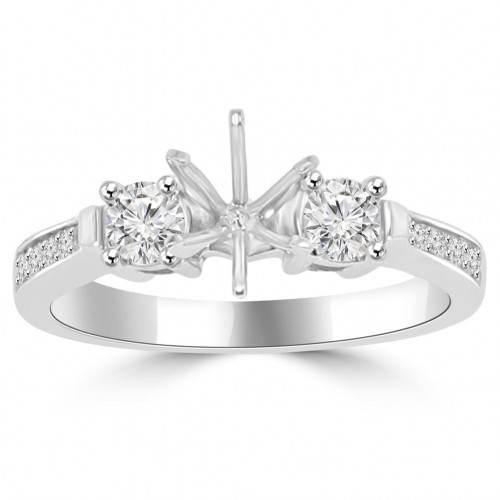0.62 ct Ladies Round Cut Diamond Semi Mounting Engagement Ring in 14 kt White Gold