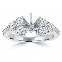 1.25 ct Ladies Round Cut Diamond Semi Mounting Engagement Ring in 14 kt White Gold