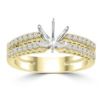 0.65 ct Ladies Round Cut Diamond Semi Mounting Engagement Ring in 14 kt Yellow Gold