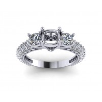 1.85 ct Round Cut Diamond Semi Mount Engagement Ring