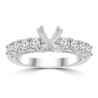 0.70 ct Ladies Round Cut Diamond Semi Mounting Ring in 14 kt White Gold