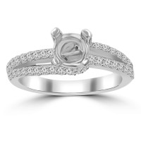 0.65 ct Ladies Round Cut Diamond Semi Mounting Engagement Ring in 14 kt White Gold