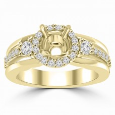 0.45 ct Ladies Round Cut Diamond Semi Mounting Engagement Ring in 14 kt Yellow Gold